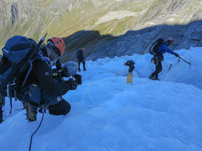 Filming on a glacier