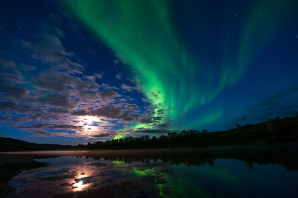 Northern lights over Karasjok river